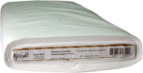 Bosal Fusible Non-Woven Featherweight Interfacing, 20-Inch by 40-Yard, White by Bosal