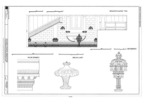 (Blueprint Diagram Hall South Elevation, Chandelier, Light Fixture & Cornice Detail - Chicago Athletic Association, 12 South Michigan Avenue, Chicago, Cook County, IL 14in x 11in)