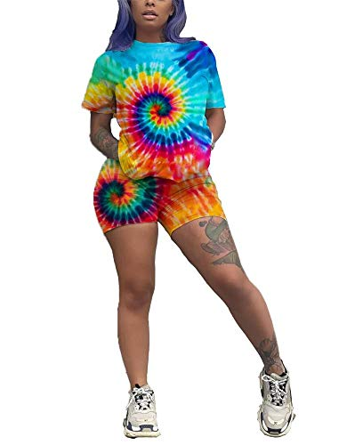 Yootiko Women Tie-dye 2 Piece Outfits Shorts Set Crew Neck Short Sleeve T-Shirts and Pants Set Jumpsuits Sportswear XL