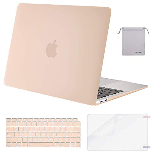 MOSISO MacBook Air 13 inch Case 2019 2018 Release A1932 with Retina Display, Plastic Hard Shell & Keyboard Cover & Screen Protector & Storage Bag Compatible with MacBook Air 13, Camel