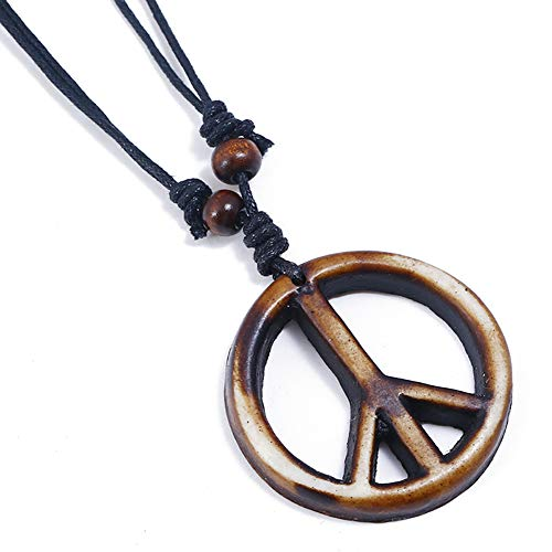 Adjustable Peace Sign Vintage Pendant Necklace with Organic