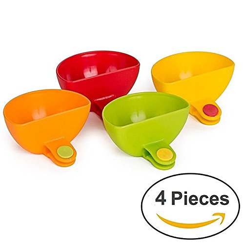 Price comparison product image Colorful Dip Clip Multi-Pack (4 Pieces) for Various Side Dish Condiments - 3.2''x3''x3.2'' - Multi Purpose Clip-On Bowls Suitable For Ketchup,  Salsa,  Salt,  Herbs