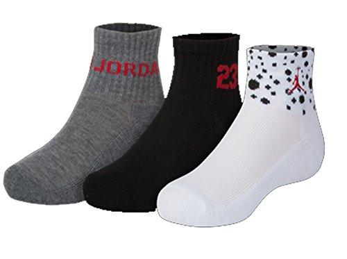 Nike Air Jordan Boys 3PK Quater Socks (7-9 (Shoe 3Y-5Y), White/Black/Dark Grey) by NIKE