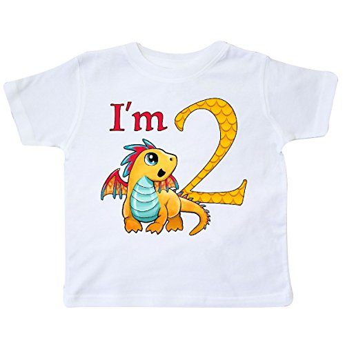 inktastic - Gold and Red Baby Dragon Second Toddler T-Shirt 2T White 2a5e3 (Dragon Shirt Gold White)