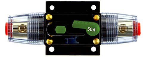 Jex Electronics 50 Amp In-Line Circuit Breaker Stereo/Audio/Car/RV 50A/50AMP Fuse 12V/24V/32V
