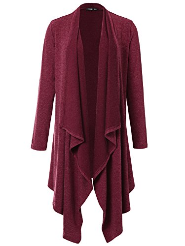 JayJay Women Vintage Brushed Long Sleeve Draped Shawl Open Cardigan,Wine,S - Waterfall Wine