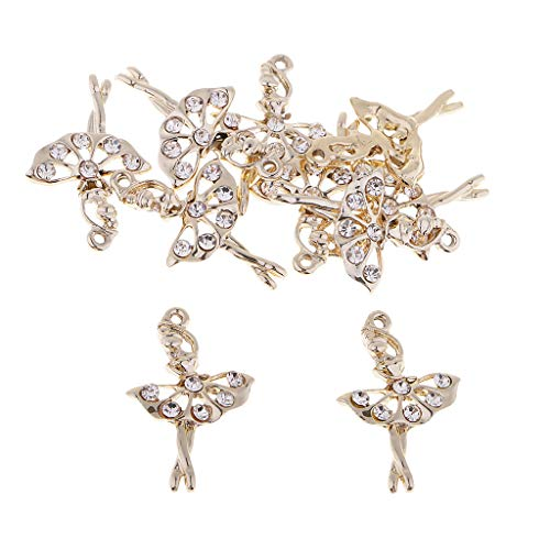 Fityle 10 Pieces Ballet Gold Tone Alloy Pendants Rhinestone Ballerina/Ballet Dancer Charms for DIY Jewelry Making Necklaces Bracelets Earrings Accessories