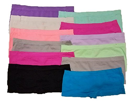 Woman's Panties Bikini Hipster/Boyshort Cheeky Seamless Design Basic Underwear Promo Pack Great As Gift (12 Pack) (Medium - (Hipster Boyshort)
