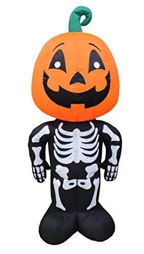 4 Foot Tall Halloween Inflatable Pumpkin Head Man Blow Up Indoor Outdoor Yard (Giant Blow Up Cat Halloween)