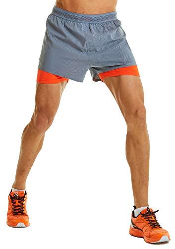 Leevy Men's Lightweight Pace Running Short Outdoor Marathon Quick Dry 2 in 1 Shorts Zip Pocket(US Medium=Tag 2XL Orange)