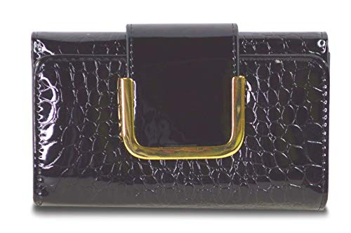 Patent Faux Leather Evening Clutch Purse, Vegan Snakeskin Wallet Organizer (Black)
