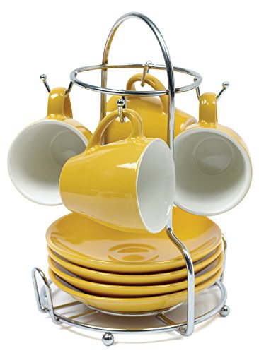IMUSA USA A120-22181T Espresso Coffee Cup Set with Rack  8-Piece, (Yellow Mug Set)