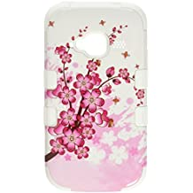 Asmyna TUFF Hybrid Phone Protector Cover for ZTE Z730 Concord II - Retail Packaging - Spring Flowers/Solid White