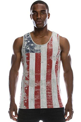 Mens Hipster Hip Hop Vertical Faded Aged USA Flag Print GREY Tank Top XL (Top American Tank)
