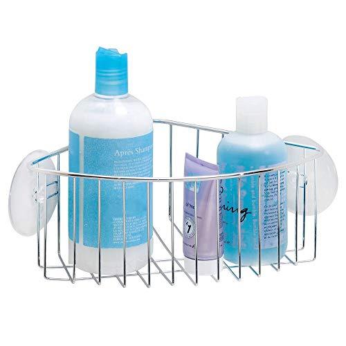 mDesign Suction Bathroom Shower Caddy Corner Basket for Shampoo, Conditioner, Soap - ()