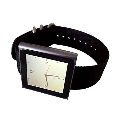 black-apple-ipod-nano-watch-band-nylon-strap-for-high-tech-wristwatch-ss-hardware