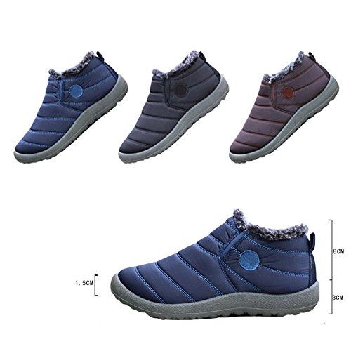 Hzjundasi mujeres de invierno cálido al aire libre a prueba de agua totalmente forrado de piel tobillo botas de nieve zapatos casuales marrón