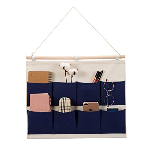 Every Deco Wall Door Hanging Mounted Storage Organization Compartment Pocket Fabric Wood Rope Room Bathroom Toiletry Newspaper Magazines - 8-Pocket Wide - Navy Blue