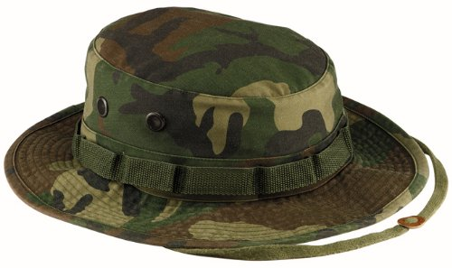 Boonie Hat Chapeau Brousse Jungle US Army Commando Trooper - Coloris Woodland Camouflage - Taille Médium - Airsoft - Paintball - Chasse - Pêche - Randonnée - Outdoor