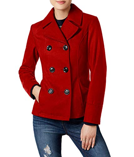 Celebrity Pink Women's Jr Double-Breasted Peacoat Red - Red Womens Peacoat