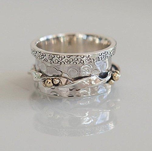 (Spinner Ring - Meditation Ring - Anti Stress Ring - Three Metal Rings - Multi Metal Ring - Mixed Metal Ring - Unisex Ring - Yoga Ring - Size US7 )