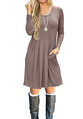 Tunic Dress Long Sleeve (Simier Fariry Womens Long Sleeve Loose Casual Tunic Dress with Pockets Khaki M)