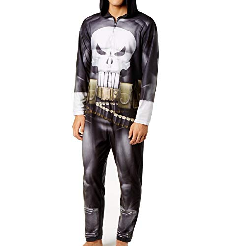 Briefly Stated Mens Large Hooded Punisher Pajama Jumpsuit Black L -