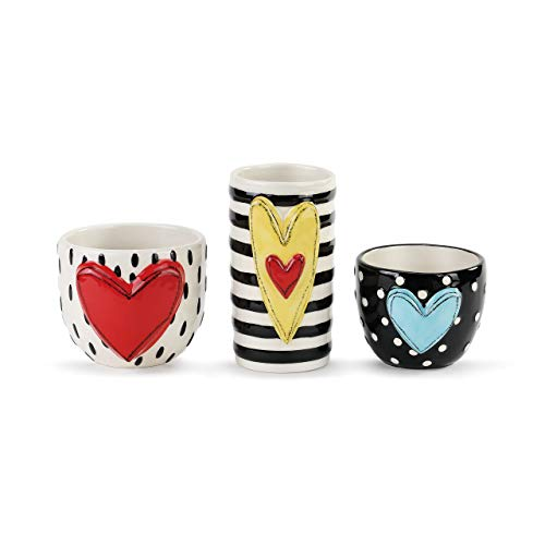 DEMDACO Heart Stripe Dot Black and White 5 x 4 Glossy Ceramic Stoneware Vases Set of 3