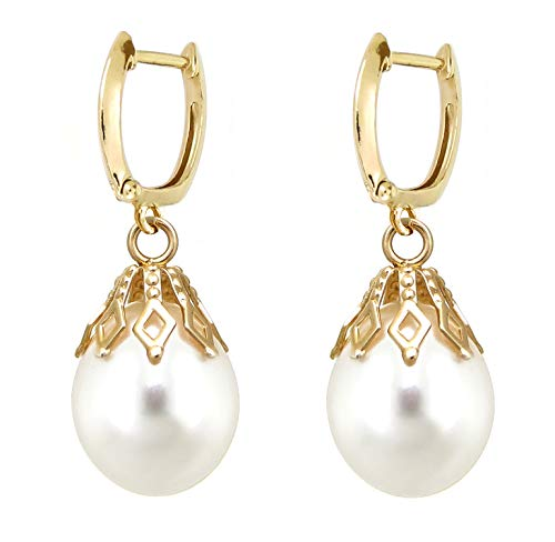 14k Yellow Gold 9-9.5 White Freshwater Cultured Pearl Bell-cup Dangle Earrings