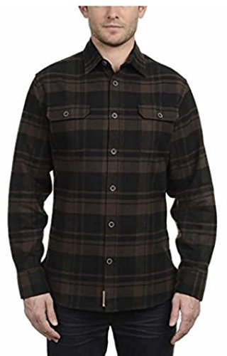 Flannel Shirt Brawny - Jachs Men's 9oz Cotton Flannel Brawny Flannel Shirt Button Down Brown/Black