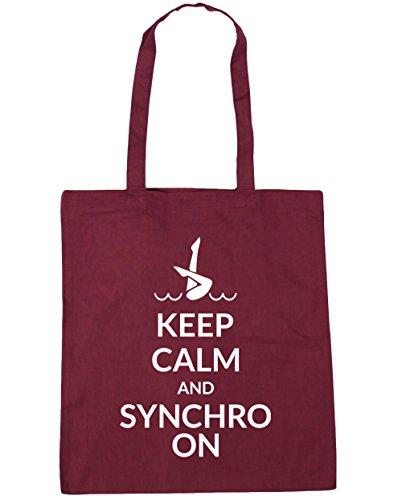 HippoWarehouse Keep calm and synchro auf Tote Einkauf Fitnessstudio Strandtasche 42cm x38cm, 10 liter - Weinrot, One size