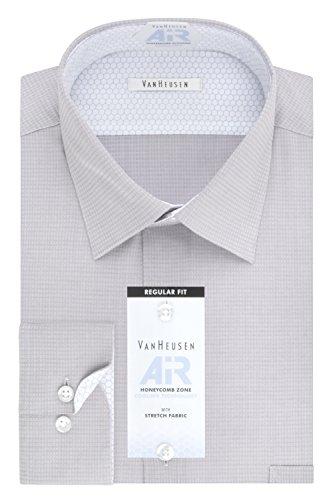 Van Heusen Men's Big and Tall Air Regular Fit Solid Spread Collar Dress Shirt, Aluminum, 18.5'' Neck 36''-37'' Sleeve by Van Heusen