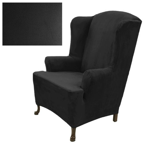 Stretch Suede Ebony Wing Chair Cover 732 by SlipcoverShop