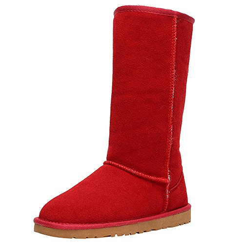 rismart Womens Classic Below Knee Thermal Suede Half Snow Boots Thick Faux Fur Lined Winter Boots Red SN1015 US8