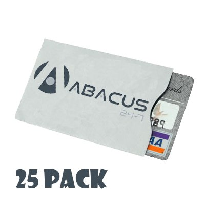 Abacus24-7 Secure RFID Blocking Sleeve for Credit/Payment/ID Cards by Identity Stronghold - Pack of 25