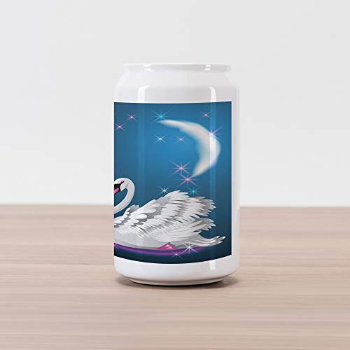 Ambesonne Swan Cola Can Shape Piggy Bank, Magic Lily and Fairy Swan at Night Swimming in Lake Under Moon and Stars Picture Art, Ceramic Cola Shaped Coin Box Money Bank for Cash Saving, Blue White