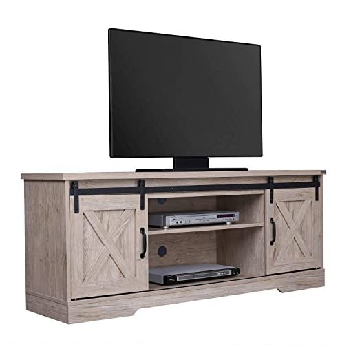 Farmhouse Living Room Furniture walnest Modern Farmhouse Furniture Wooden TV Stand Cabinet with 2 Sliding barn Wood Doors and Shelves for Living Room… farmhouse tv stands