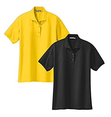 Port Authority L500 Ladies Silk Touch Polo XS 1 Black + 1 Sunflower Yellow