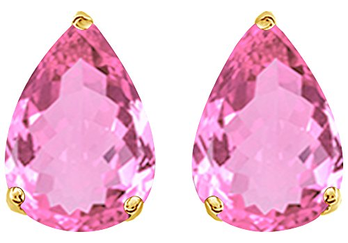 Simulated Pink Tourmaline Pear Shape Stud Earrings In 14K Yellow Gold Over Sterling Silver (5 Ct)