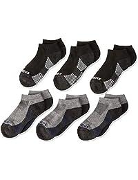Skechers Kids Big Boys' 6 Pack Low Cut Socks, black/Yellow