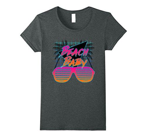 Womens Beach Baby 80's Retro Style T-Shirt Medium Dark - Sunglasses Candy Eye