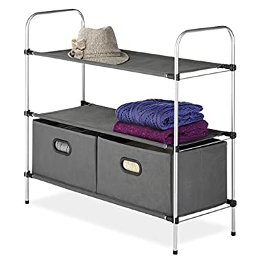 Whitmor Portable Closet Storage Organizer, Includes 2 Fabric Shelves / Bins, Gray