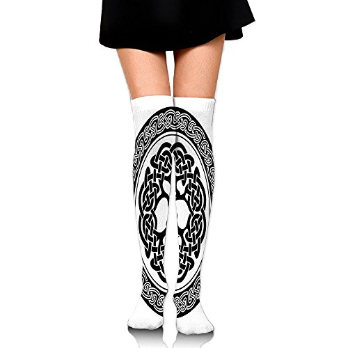 Hizhogqul Native Celtic Tree Of Life Figure Ireland Early Renaissance Artsy Modern Design Women's Fashion Over The Knee High Socks (Lord Of The Rings Costumes Ireland)