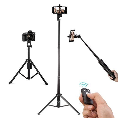 Eocean Selfie Stick Tripod, 54 Inch Video Tripod, Extendable Camera Tripod for Cellphone and Camera, with Wireless Remote, Compatible with iPhone X/8/8 Plus/7/Samsung Galaxy Note 9/S9/Huawei/Google