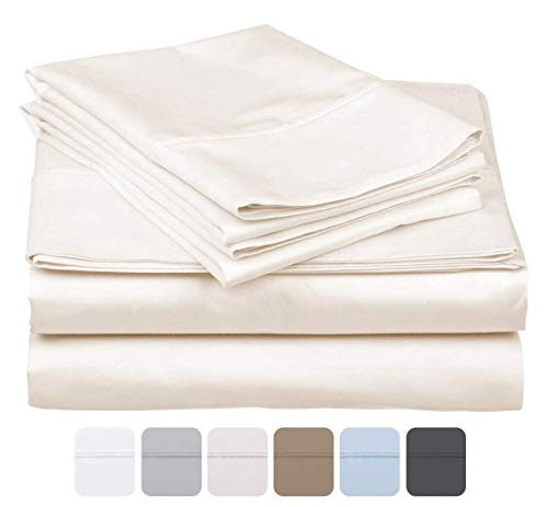 - 600 Thread Count 100% Long Staple Soft Cotton, 4 Piece Sheets Set, RV Short Queen Size,Smooth & Soft Sateen Weave, Luxury Hotel Collection Bedding, Ivory Solid