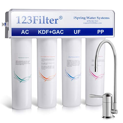 iSpring CU-A4 4-Stage Compact, High Efficiency Under Sink / Inline Drinking Water Filter System for Sink, Refrigerator and RV - Removes Bacteria, Giardia, Lead, Arsenic and much more
