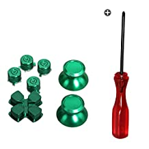 Timorn Replacement Parts Aluminum Metal Thumbsticks D-Pad Bullet Buttons Mod Kit for Playstation 4 PS4 Controller (Green Set)