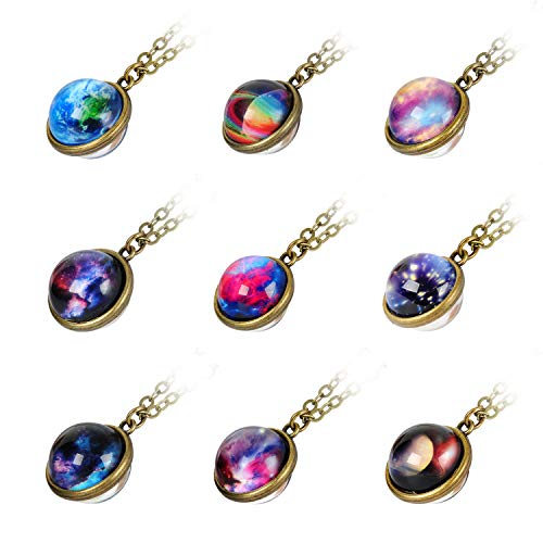 - 9 Pack Nebula Galaxy Double Sided Pendant Necklace Outer Space Necklace Universe Planet Jewelry Handmade Glass Cabochon Necklace Outer Space Party Favors Supplies