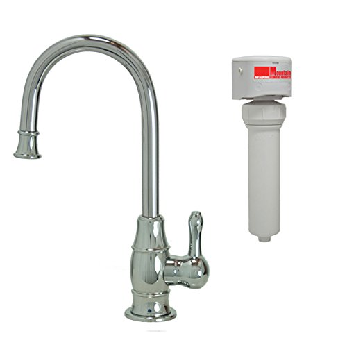 Mountain Plumbing MT1853FIL-NL/PVDPN Traditional Mini Point-of-Use Drinking Faucet and Mountain Pure Water Filtration System with Curved Spout, Polished (Mountain Faucet)