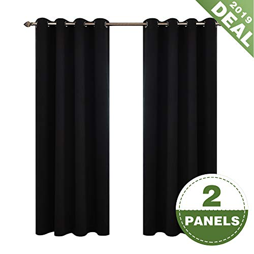 ECODECOR Black Blackout Curtains for Bedroom 84